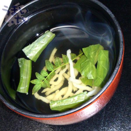 吸物 魚麺と青菜の椀物